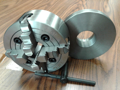 "6"" 4-JAW LATHE CHUCK w independent jaws w 2-1/4""-8 adapter semi-finish #0604F0"