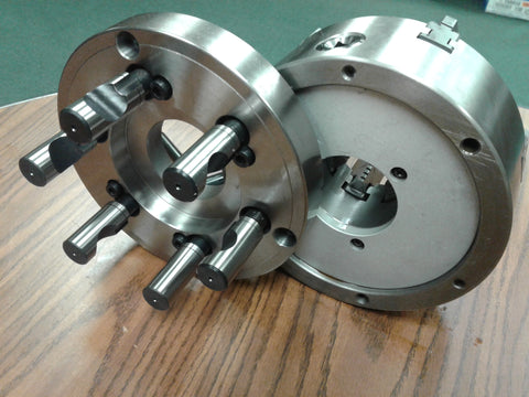 "8"" 6-JAW SELF-CENTERING LATHE CHUCK w. top&bottom jaws, D1-6 adapter back plate"