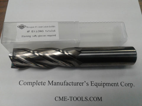 "1x3x6"" X- long length micro-grain Carbide End Mill 4 Flt center-cutting--new #1006-10L600"