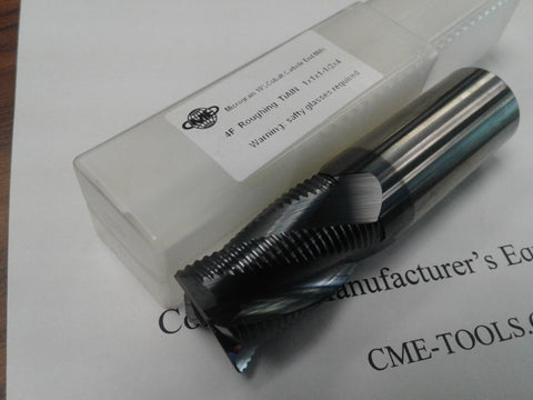 "1x1-1/2x4"" Solid Carbide Roughing End Mills Tialn Coated,center-cutting-new #1006-TNR-1"