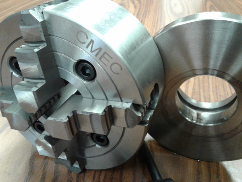 "6"" 4-JAW LATHE CHUCK w independent jaws w L00 adapter semi-finished #0604F0"