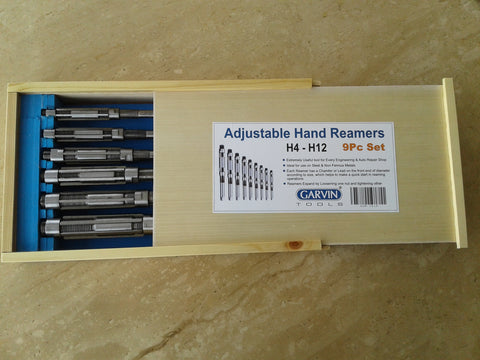 "9 pcs/set Adjustable Hand Reamers A-I, H4-H12, 15/32"" to 1-3/16"", HSS #515-ADJ9"