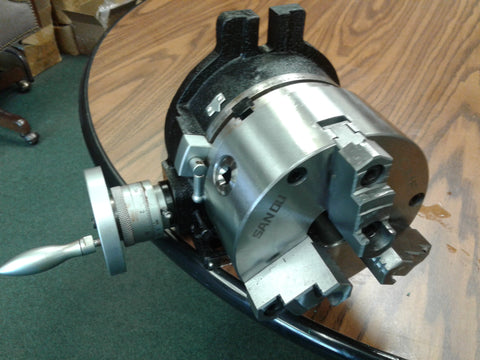 "6"" HORIZONTAL & VERTICAL ROTARY TABLE w. 6"" 3-jaw chuck front mount,#TSL6-3-slot"