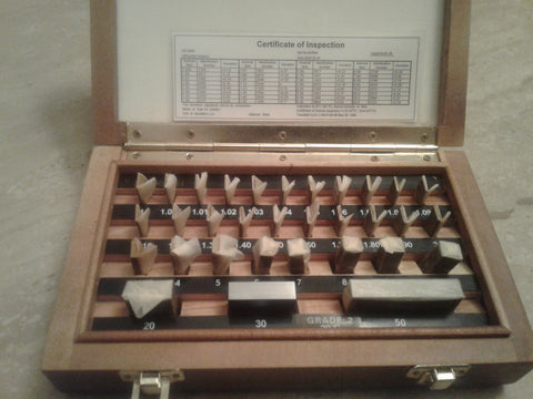 32 PCS/SET METRIC GAGE BLOCK SET, DIN861 GRADE 2 W. CERTS. #702F-32-2-new