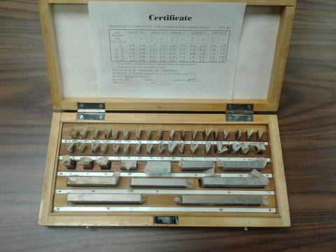 47 PCS/SET METRIC GAGE BLOCK SET, DIN861 GRADE 1 W. General CERTS. #702F-47NC-1