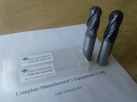 "2pcs 3/4""x1-1/2x4"" solid Carbide Ball End Mills Tialn coated 4 Flt #1006-BTN-34"