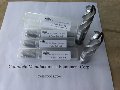 "5pcs 5/8"" M42 8%Co cobalt Ball end mills 5/8x1-5/8x3-3/4"" #1009-CO-58BL new"