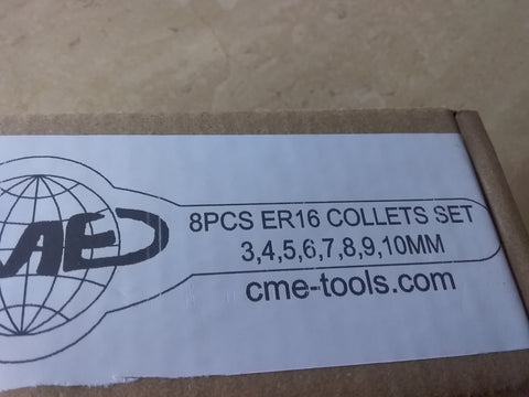 8 pcs metric ER16 collet set, collets 3mm - 10mm, 0.008mm TIR #ER16-SET8M-NEW