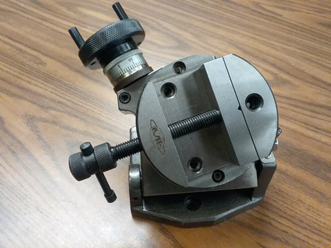 "4"" TILTING ROTARY TABLE w. Clamping kit & 4"" round vise Part#TTSK-100VS NEW"