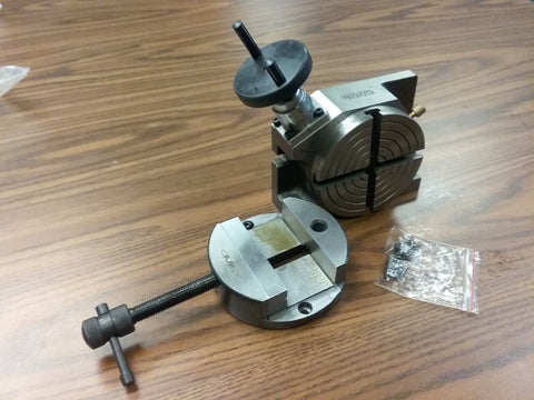 "4"" HORIZONTAL & VERTICAL ROTARY TABLE w. Clamping kit & 4"" round vise #TTSL100VS"