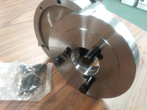 "6"" 3-JAW SELF-CENTERING LATHE CHUCK top-bottom jaws w D1-3 semi-finished adapter"