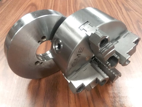 "6"" 4-JAW SELF-CENTERING LATHE CHUCK Top bottom jaws D1-3 semi-finished adapter"