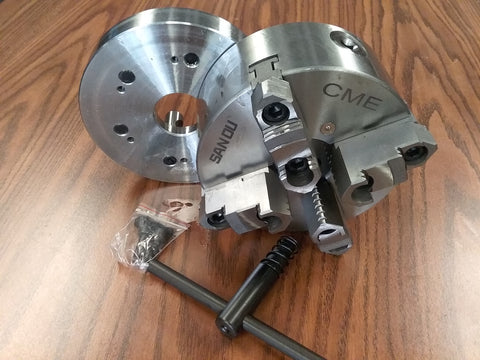 "6"" 4-JAW SELF-CENTERING CHUCK Top bottom jaws D1-5, D5 semi-finished adapter"