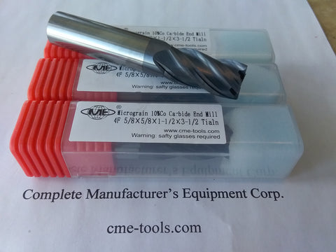 "3pcs 5/8"" Tialn coated solid Carbide End Mills 4 Flt general machining #GM1006"