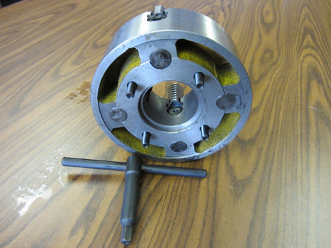 "10"" 4-JAW LATHE CHUCK w. independent jaws w. L00 semi-finished adapter #1004F0"