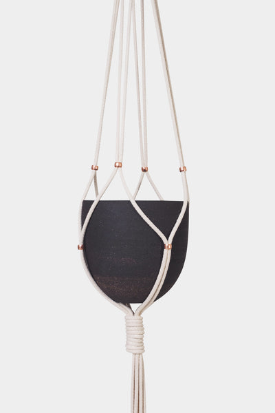 NATIVE COPPER & COTTON HANGING PLANTER