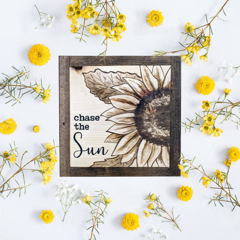 """Chase the Sun"" Small Framed sign"