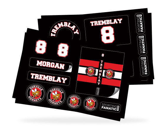 Water Bottle Labels, Helmet Decals and Hockey Stick Stickers