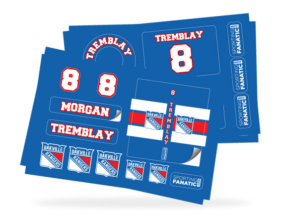 Oakville Rangers Water Bottle Labels, Helmet Decals and Hockey Stick Stickers
