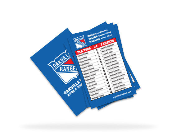 Oakville Rangers Team Roster Card