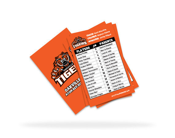 oakville tigers team roster card sporting fanatic