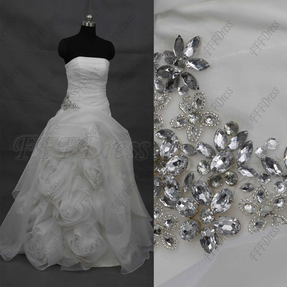 Beaded Ball Gown Wedding Dress with Flowers