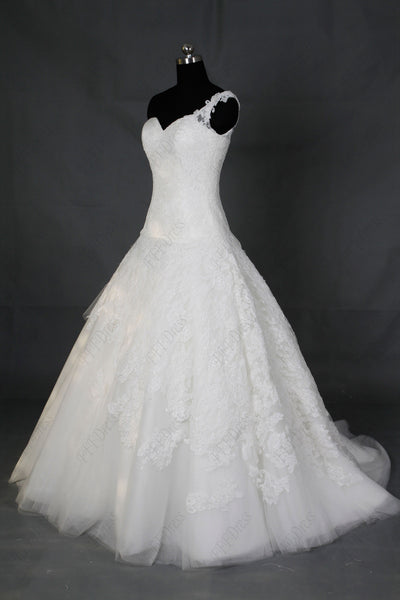 One shoulder lace ball gown wedding dresses