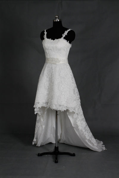 Lace high low wedding dresses beach wedding dress