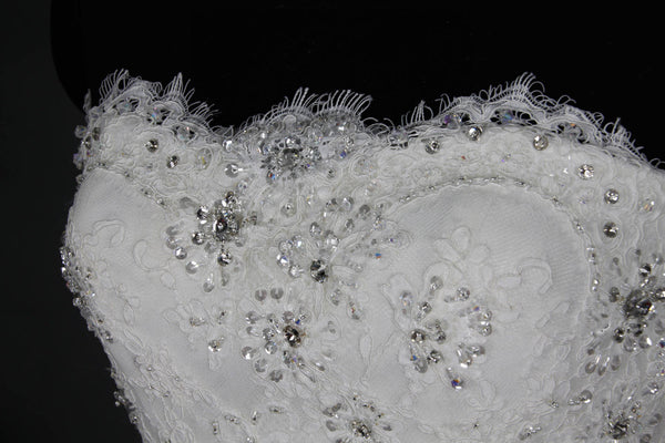 Sparkles beaded lace mermaid wedding dress