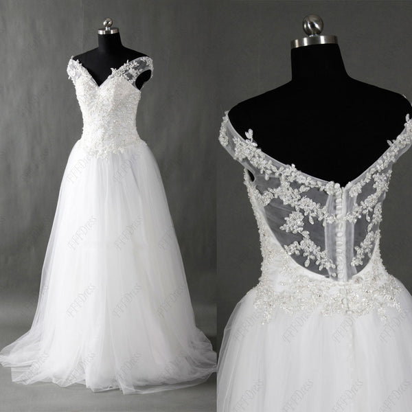 Off the shoulder lace wedding dresses