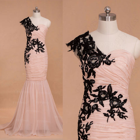 Black lace pink mermaid prom dresses long