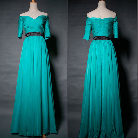 Off the shoulder Green modest bridesmaid dress with sleeves maid of honor dress