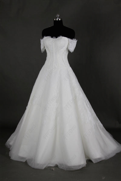 Scalloped off the shoulder ball gown wedding dress