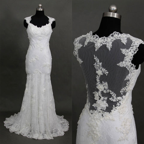 Backless mermaid lace wedding dresses