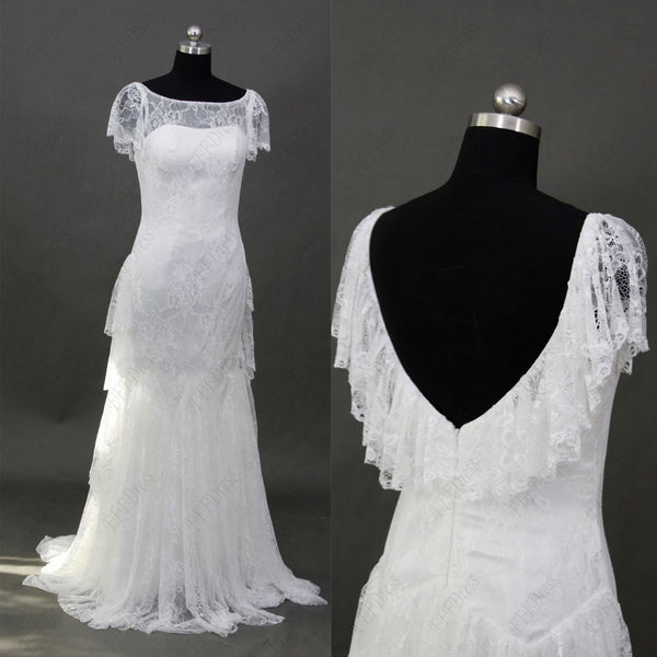 Boho backless lace wedding dress