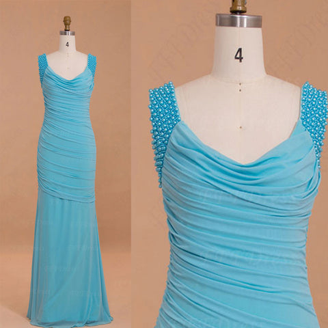 Pearls Aqua blue trumpet stretchy formal dresses