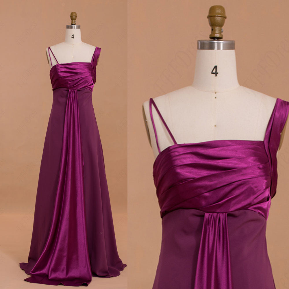 Magenta long bridesmaid dresses with straps