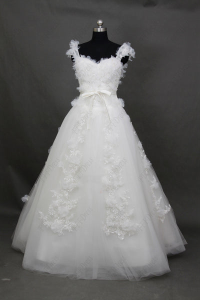 Sweetheart flowers ball gown wedding dress with straps