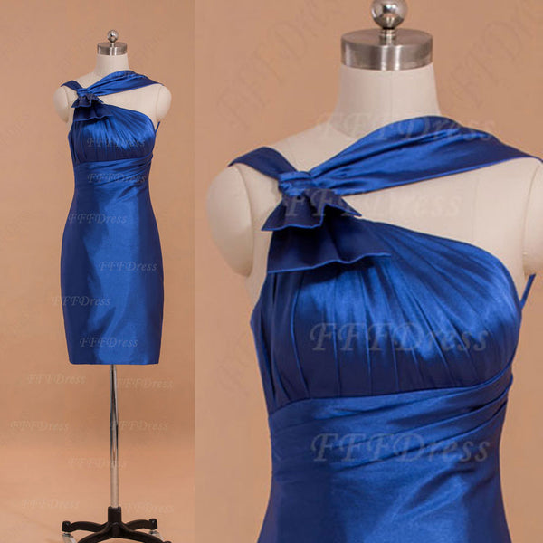 Royal blue Sheath homeoming dresses with bow