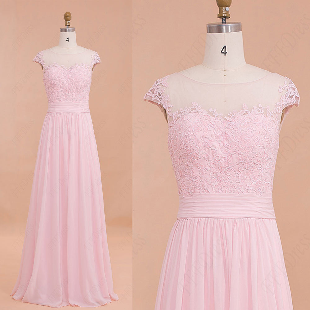 Modest Pink bridesmaid dresses Lace Long Prom Dresses