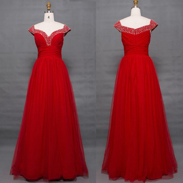 Off the shoulder beaded vintage red prom dresses long