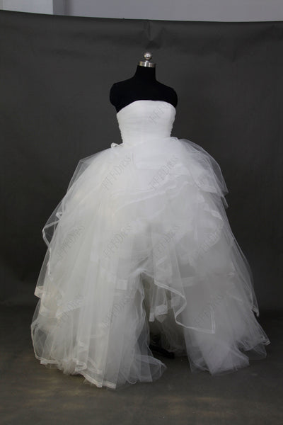 Strapless ball gown high low wedding dresses