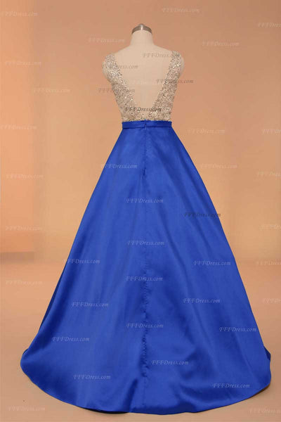 V Neck sequins beaded sparkly prom dresses royal blue pageant dress