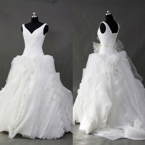 Ball gown swirled V Neck wedding dresses with sash