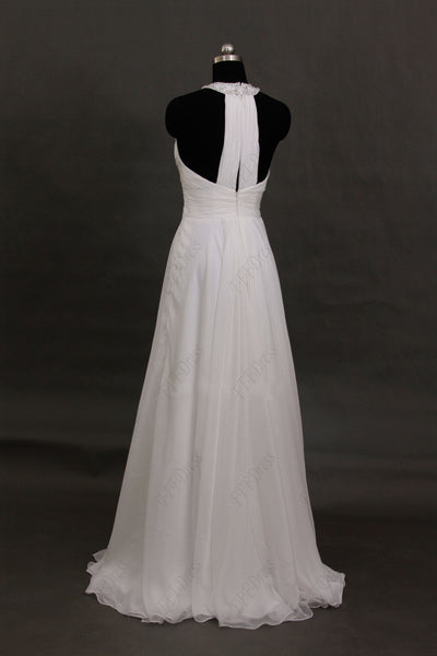 Halter beaded backless beach wedding dresses
