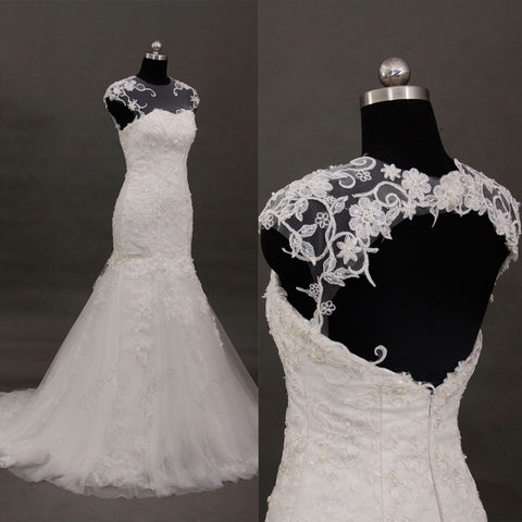 Mermaid lace wedding dress cap sleeves key hole back