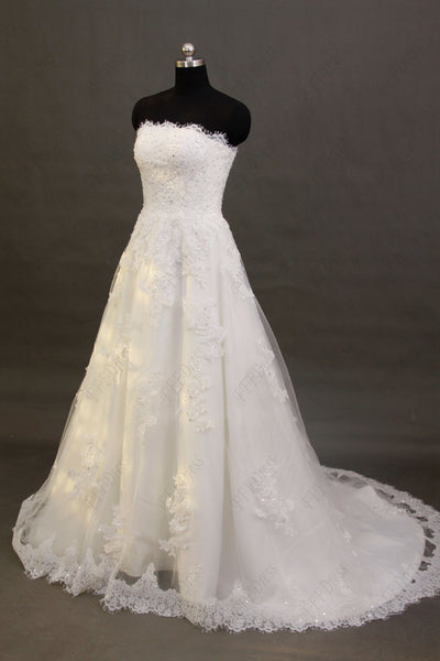 Scalloped lace mermaid wedding dresses