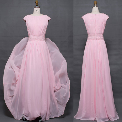 Light pink modest bridesmaid dresses cap sleeves