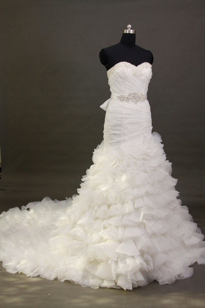 Mermaid tiered wedding dress with beaded sash
