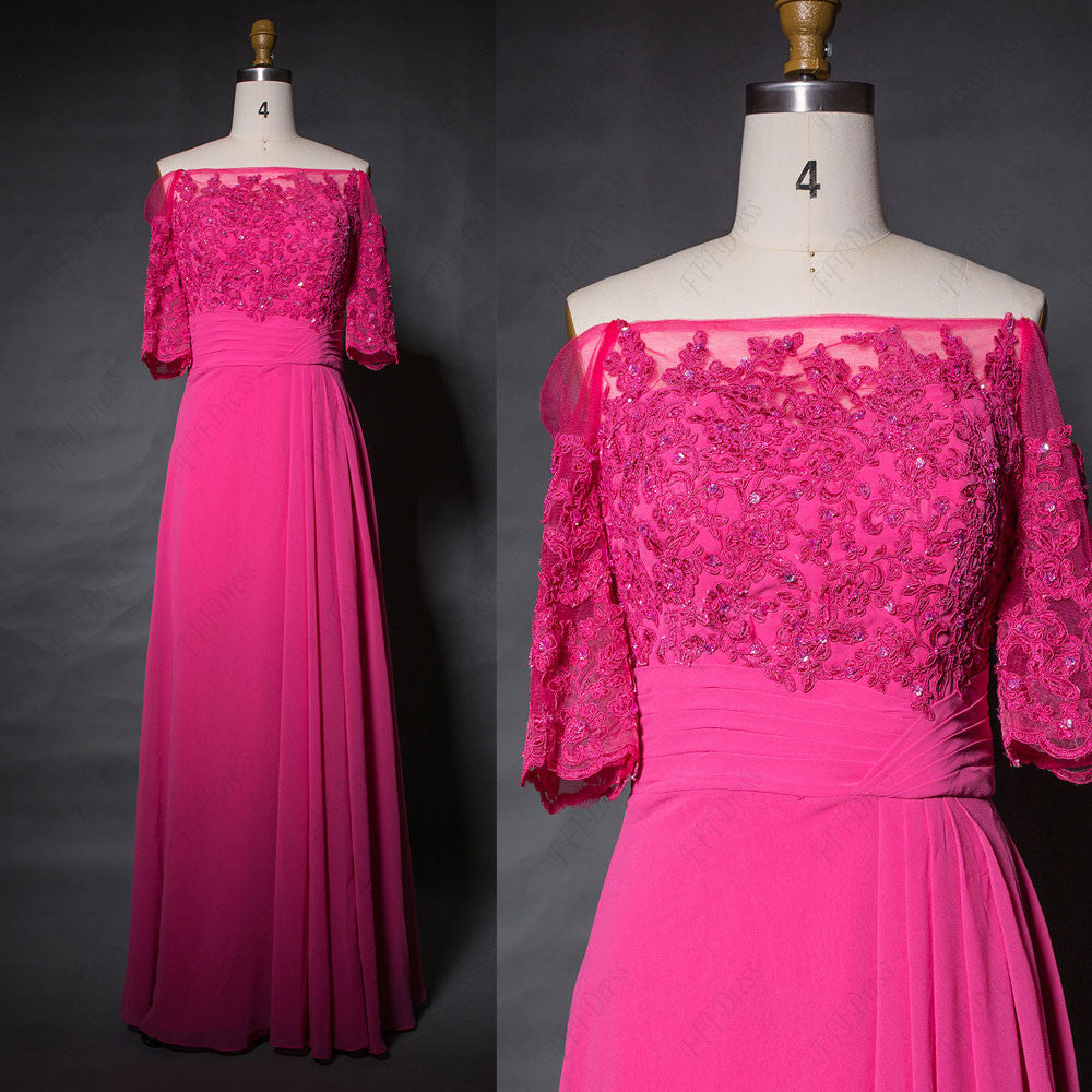 Off the shoulder fuchsia bridesmaid dress with sleeves